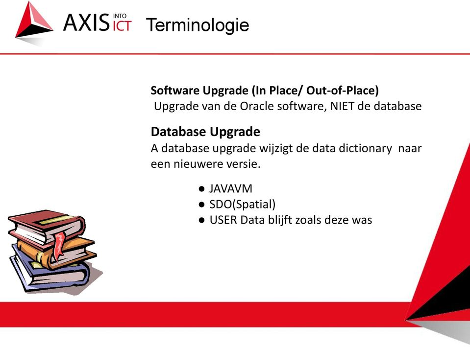 Upgrade A database upgrade wijzigt de data dictionary naar