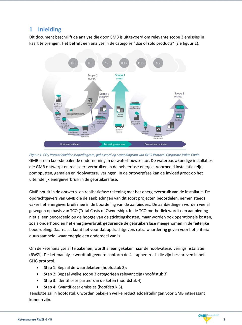 Figuur 1: CO 2 -Prestatieladder scopediagram, gebaseerd op scopediagram van GHG-Protocol Corporate Value Chain GMB is een koersbepalende onderneming in de waterbouwsector.