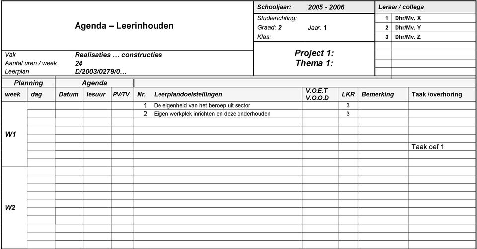 Z Vak Realisaties constructies Aantal uren / week 24 Leerplan D/2003/0279/0 Project 1: Thema 1: Planning Agenda