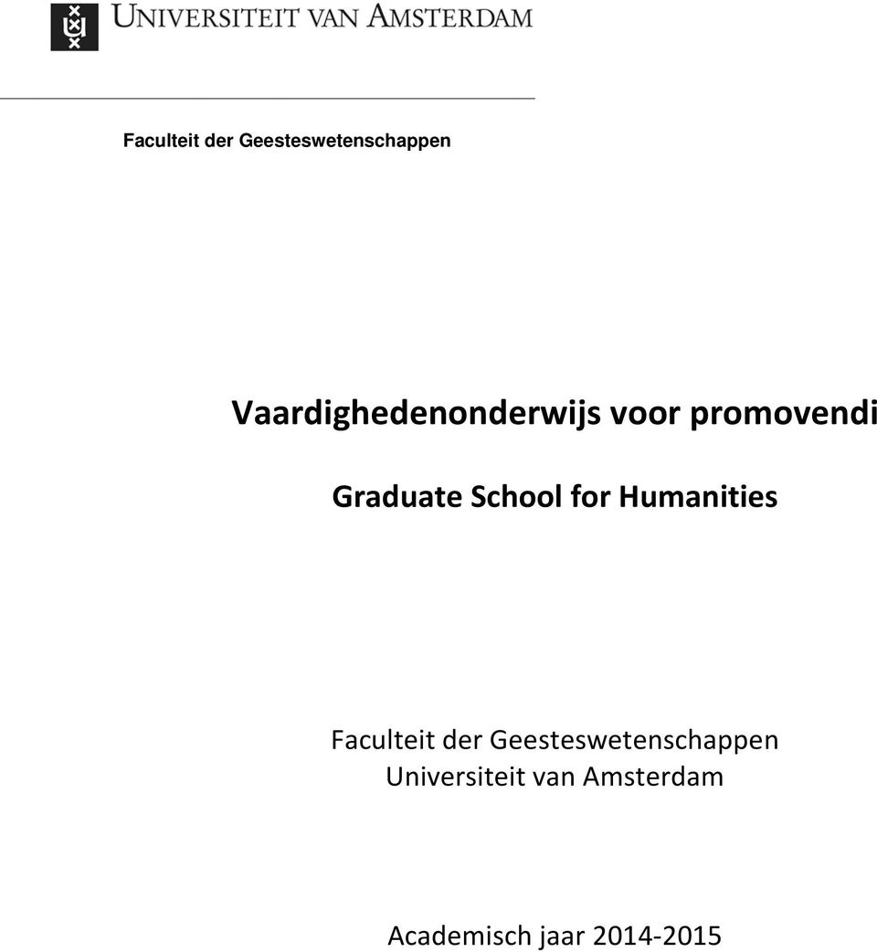 School for Humanities  Universiteit van