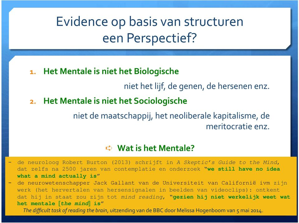 - de neuroloog Robert Burton (2013) schrijft in A Skeptic s Guide to the Mind, dat zelfs na 2500 jaren van contemplatie en onderzoek we still have no idea what a mind actually is!