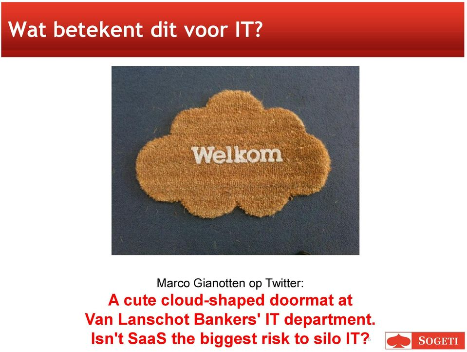 cloud-shaped doormat at Van Lanschot