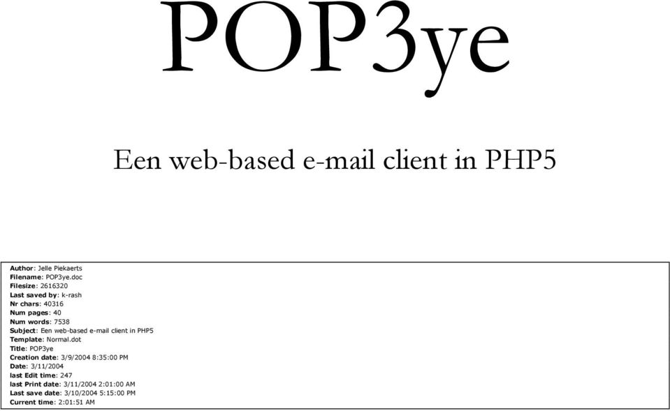 web-based e-mail client in PHP5 Template: Normal.