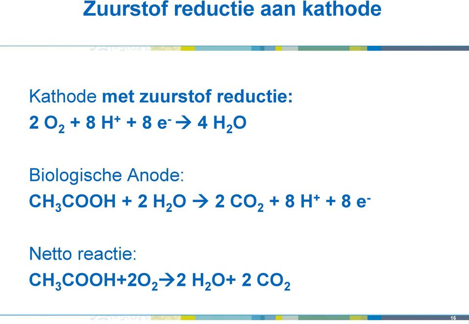 Biologische Anode: CH 3 COOH + 2 H 2 O 2 CO 2 + 8