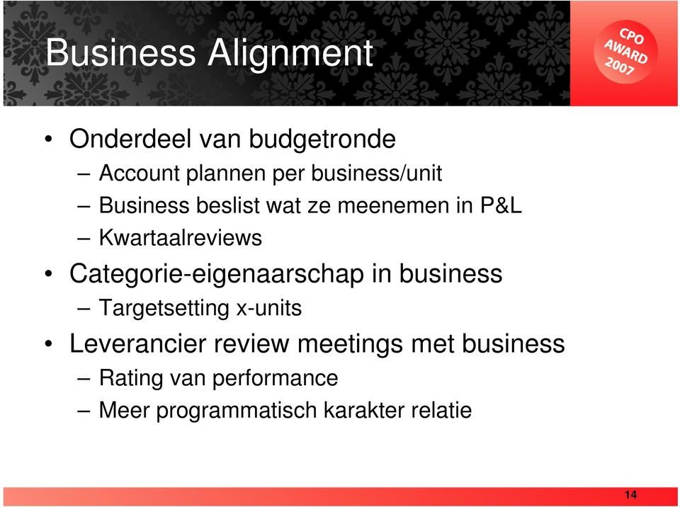 Categorie-eigenaarschap in business Targetsetting x-units Leverancier