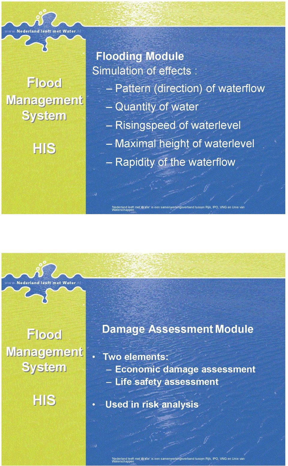 waterlevel Rapidity of the waterflow Flood System Damage Assessment Module