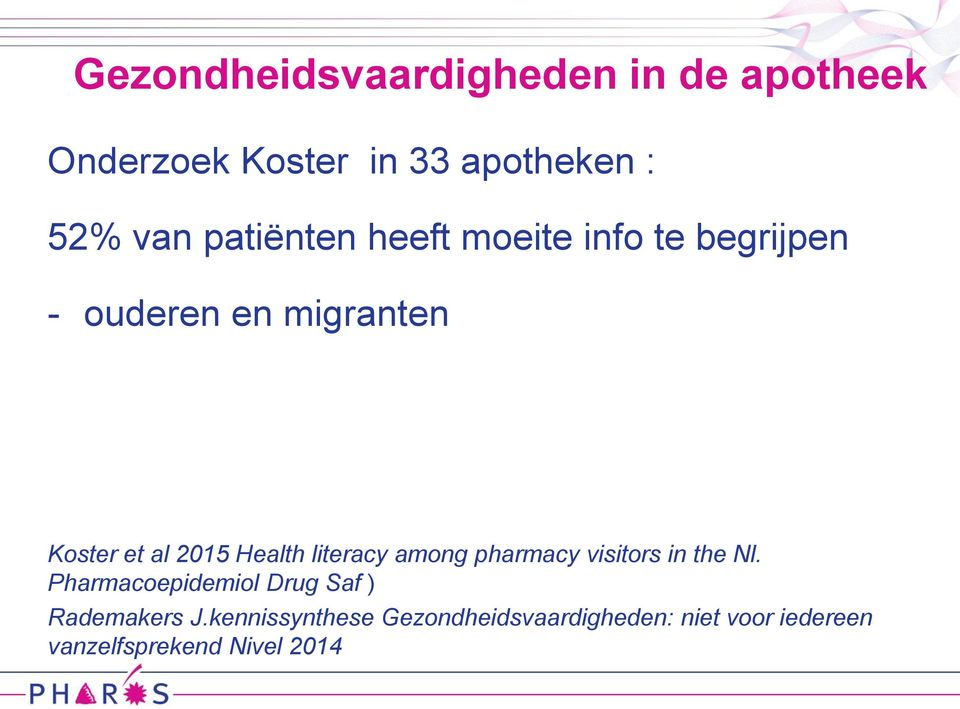 Health literacy among pharmacy visitors in the Nl.