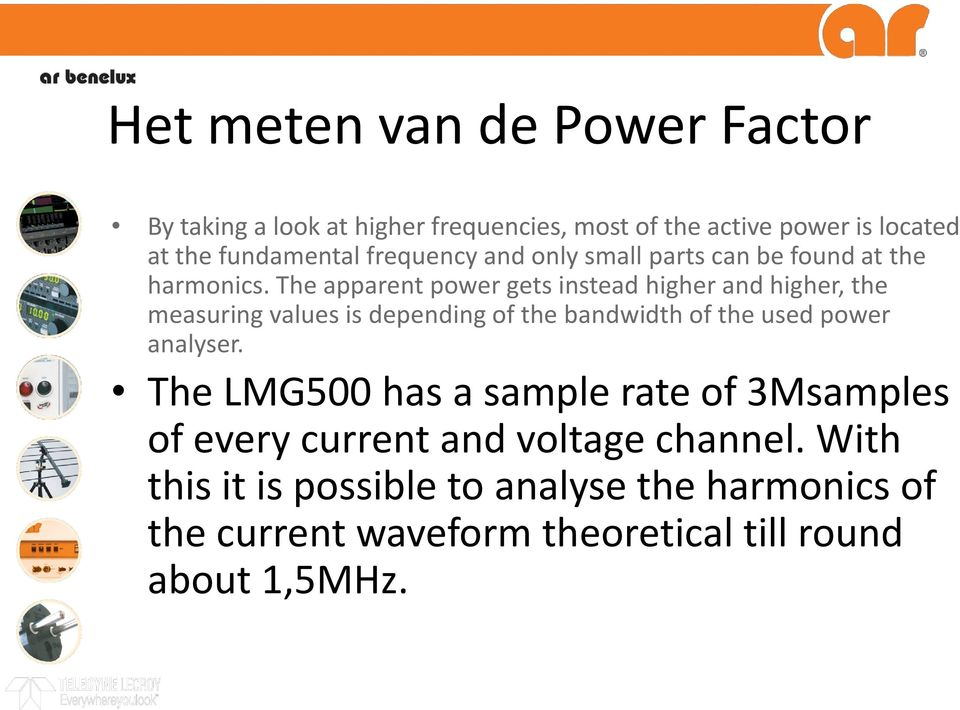 The apparent power gets instead higher and higher, the measuring values is depending of the bandwidth of the used power