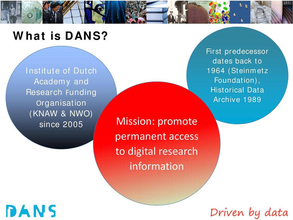 (KNAW & NWO) since 2005 Mission: promote permanent access to