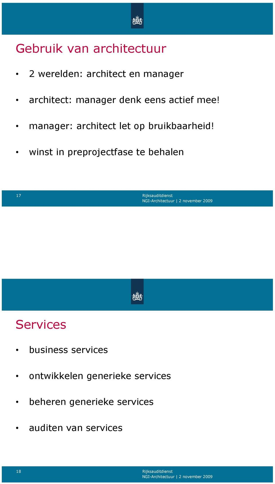 winst in preprojectfase te behalen 17 Services business services
