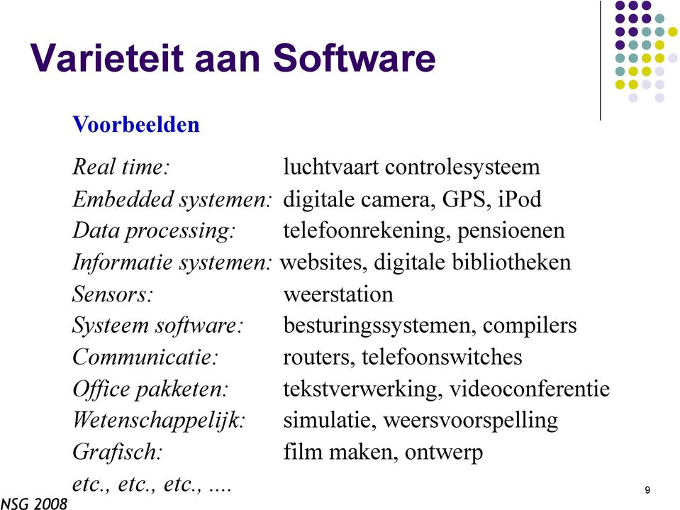 Systeem software: besturingssystemen, compilers Communicatie: routers, telefoonswitches Office pakketen: