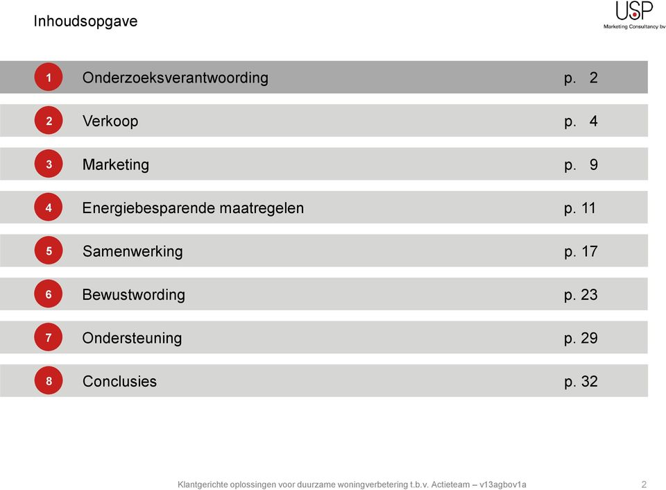 4 Marketing p. 9 Energiebesparende maatregelen p.