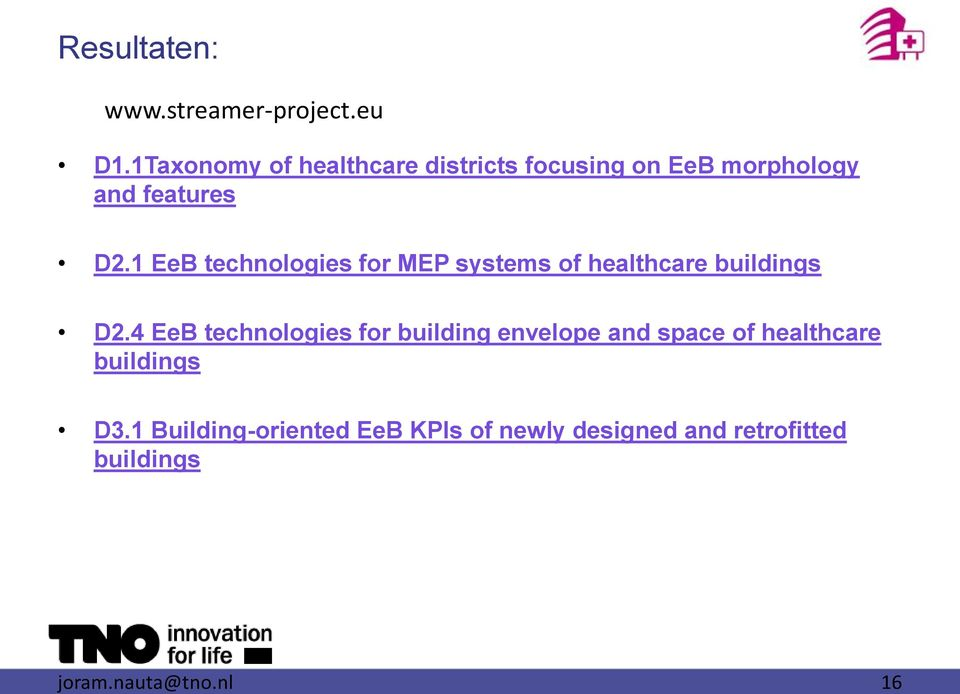 1 EeB technologies for MEP systems of healthcare buildings D2.