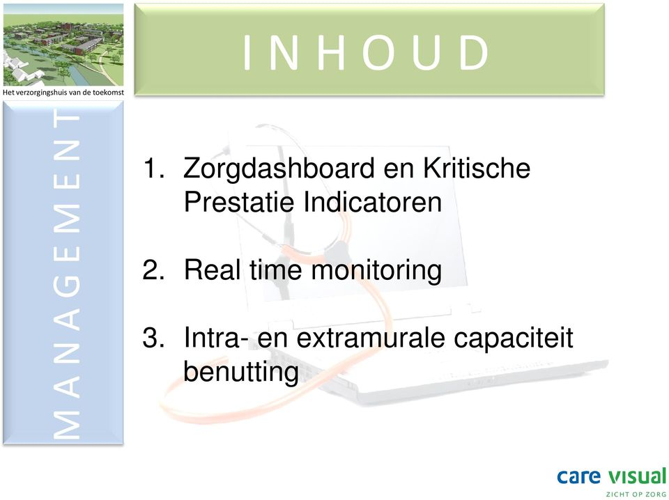 Indicatoren 2. Real time monitoring 3.