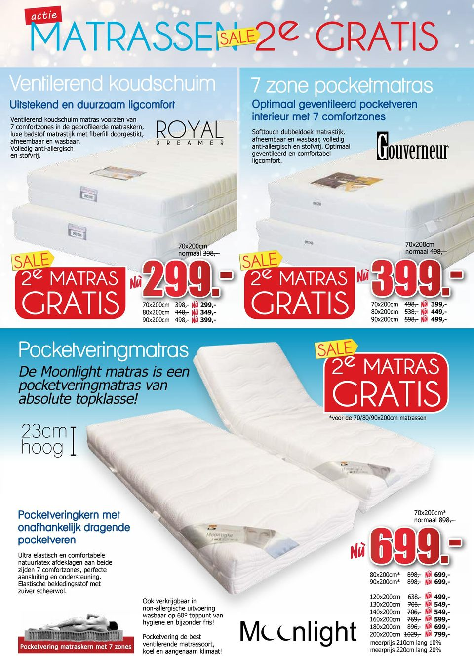 ROYAL D R E A M E R 7 zone pocketmatras Optimaal geventileerd pocketveren interieur met 7 comfortzones Softtouch dubbeldoek matrastijk, afneembaar en wasbaar, volledig anti-allergisch en stofvrij.
