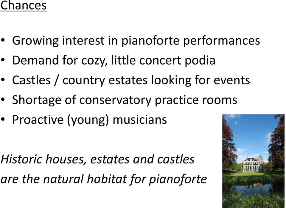Shortage of conservatory practice rooms Proactive (young) musicians