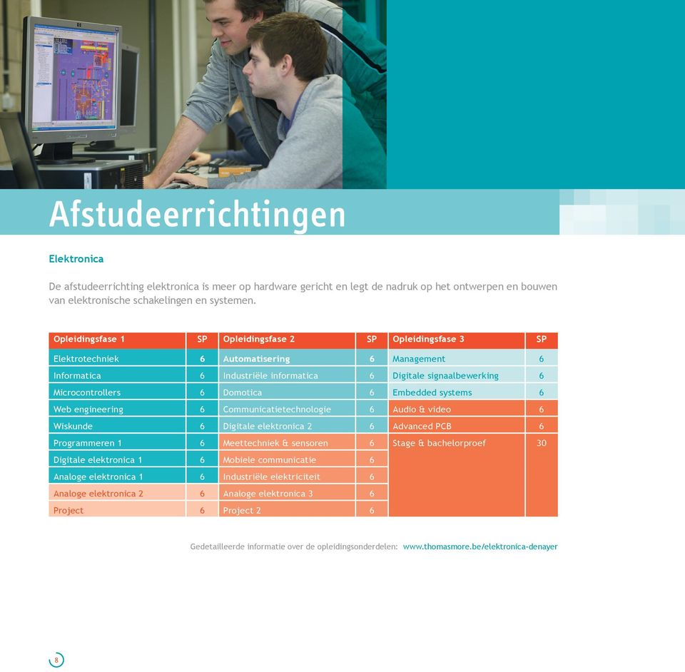 Domotica 6 Embedded systems 6 Web engineering 6 Communicatietechnologie 6 Audio & video 6 Wiskunde 6 Digitale elektronica 2 6 Advanced PCB 6 Programmeren 1 6 Meettechniek & sensoren 6 Stage &