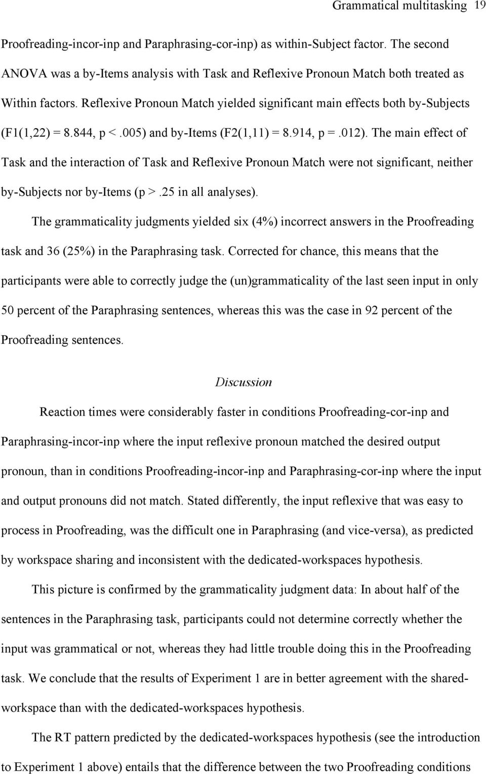 844, p <.005) and by-items (F2(1,11) = 8.914, p =.012). The main effect of Task and the interaction of Task and Reflexive Pronoun Match were not significant, neither by-subjects nor by-items (p >.