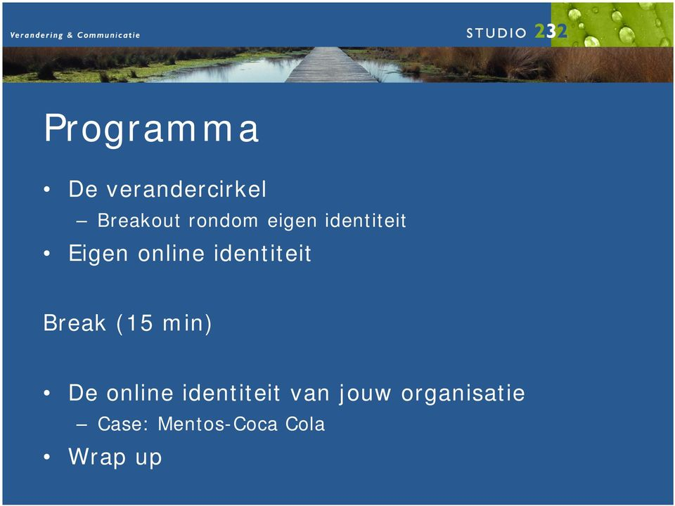 identiteit Break (15 min) De online
