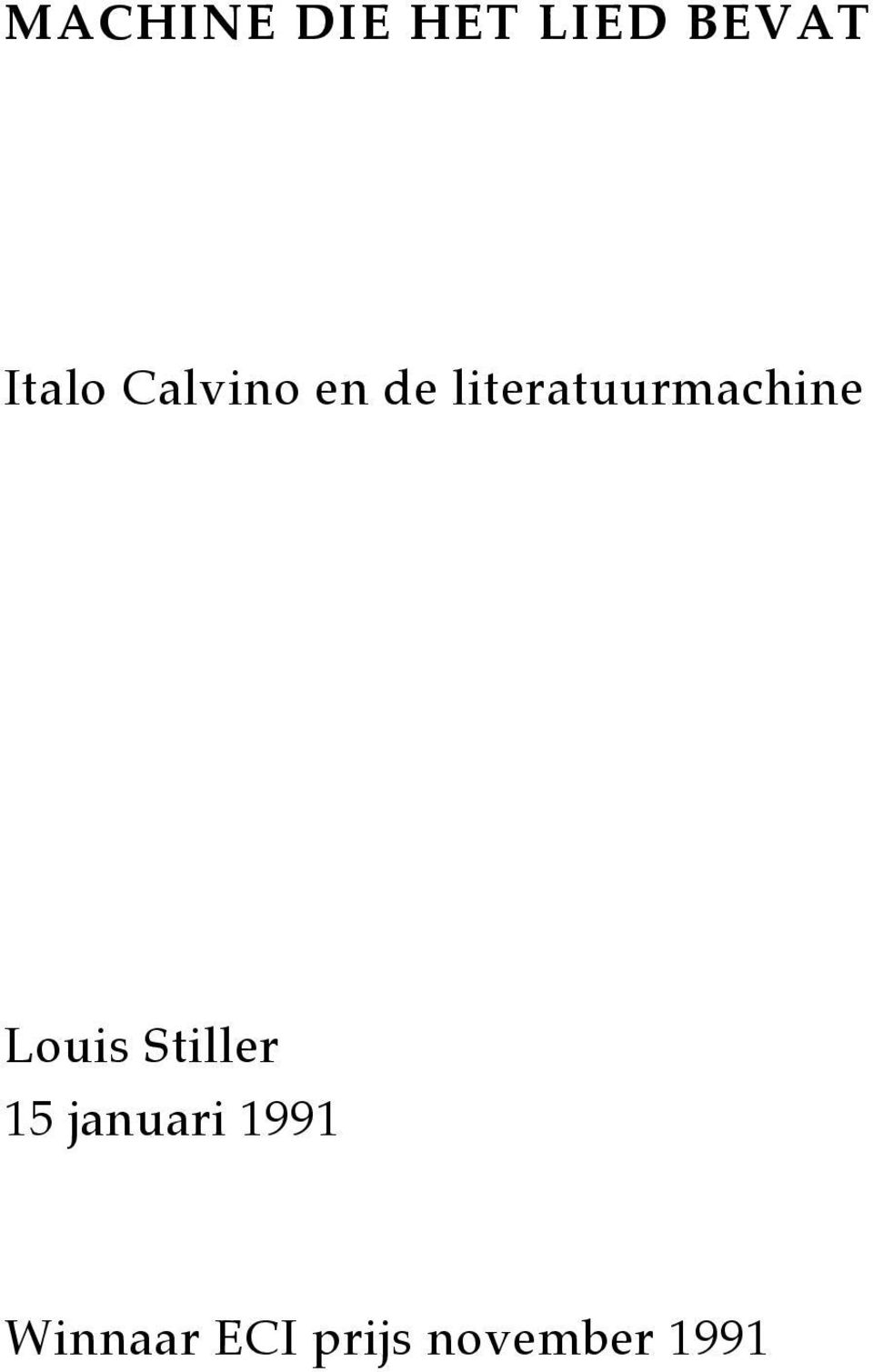 literatuurmachine Louis Stiller
