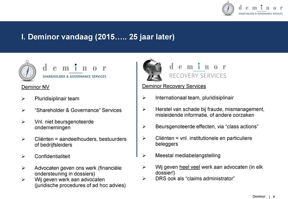 werk aan advocaten (juridische procedures of ad hoc advies) Deminor Recovery Services Internationaal team, pluridisiplinair Herstel van schade bij fraude, mismanagement, misleidende