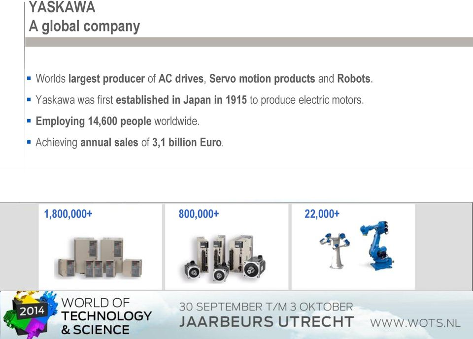 Yaskawa was first established in Japan in 1915 to produce electric