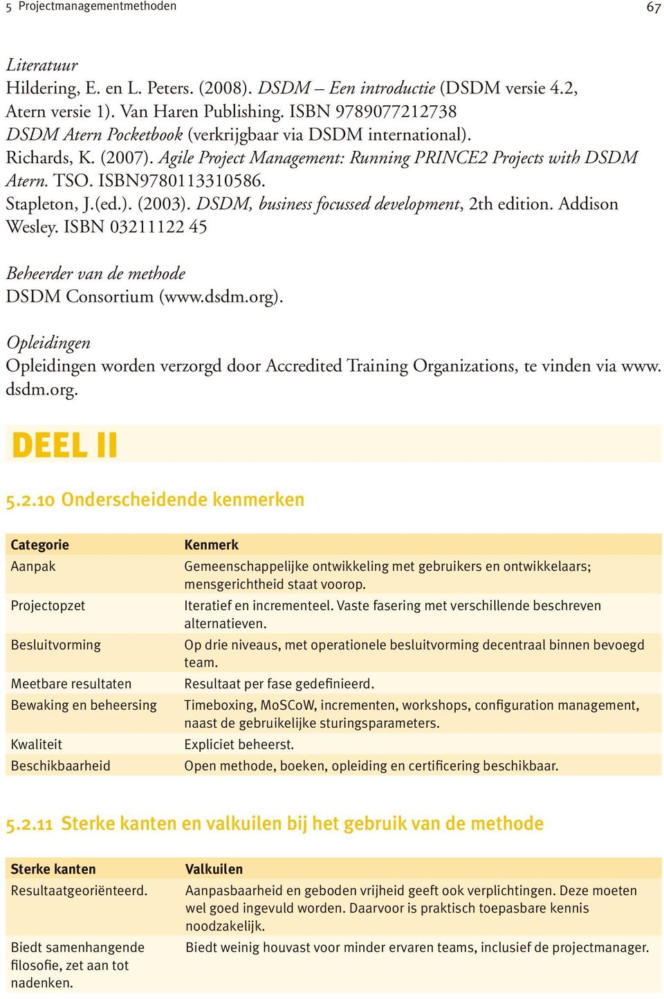 Stapleton, J.(ed.). (2003). DSDM, business focussed development, 2th edition. Addison Wesley. ISBN 03211122 45 Beheerder van de methode DSDM Consortium (www.dsdm.org).