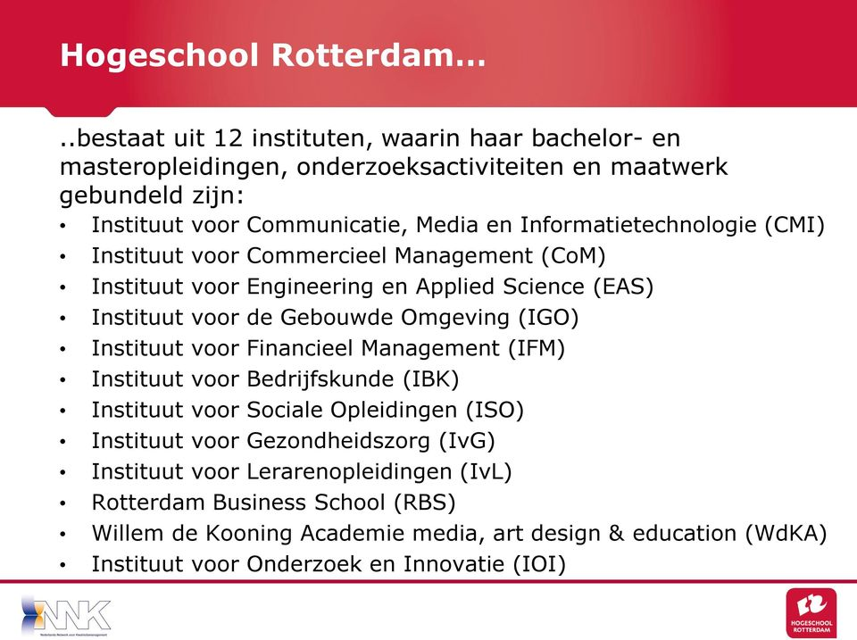 Informatietechnologie (CMI) Instituut voor Commercieel Management (CoM) Instituut voor Engineering en Applied Science (EAS) Instituut voor de Gebouwde Omgeving (IGO)