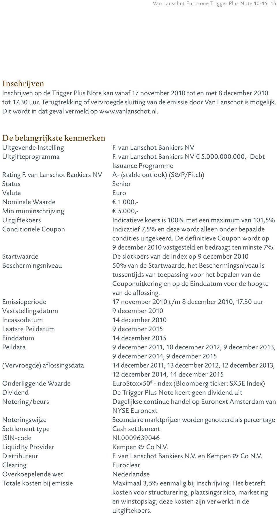 van Lanschot Bankiers NV F. van Lanschot Bankiers NV 5.000.000.000,- Debt Issuance Programme A- (stable outlook) (S&P/Fitch) Senior Euro Rating F.