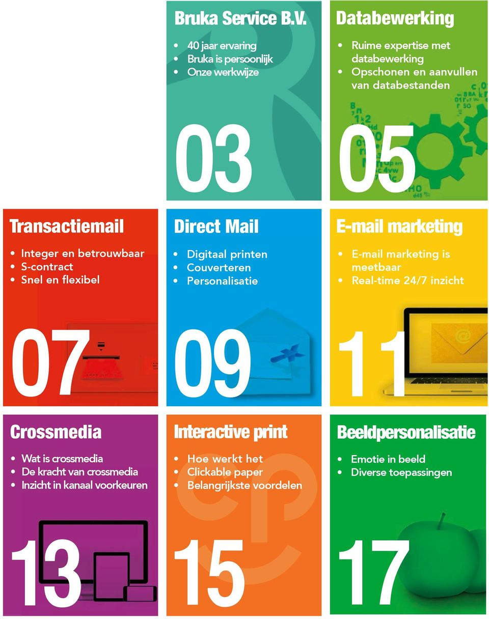 Transactiemail Integer en betrouwbaar S-contract Snel en flexibel 03 Direct Mail Digitaal printen Couverteren Personalisatie 05 E-mail marketing