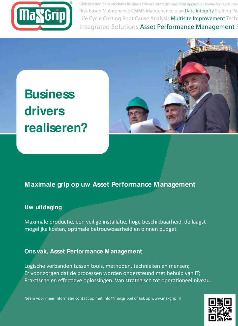 Analysis Multisite Improvement Techn Integrated Solutions Asset Performance Management S Business drivers