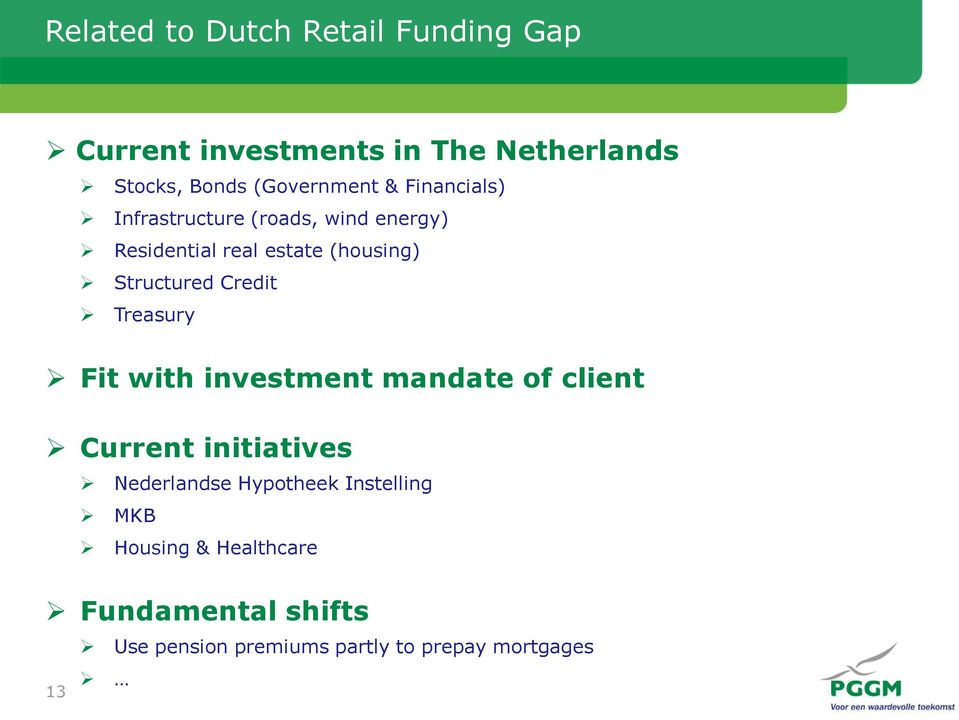 Structured Credit Treasury Fit with investment mandate of client Current initiatives Nederlandse