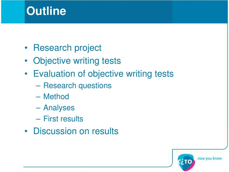 writing tests Research questions Method