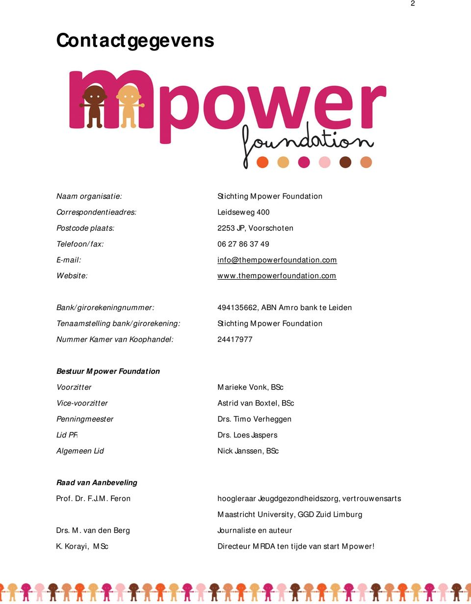 com Bank/girorekeningnummer: 494135662, ABN Amro bank te Leiden Tenaamstelling bank/girorekening: Stichting Mpower Foundation Nummer Kamer van Koophandel: 24417977 Bestuur Mpower Foundation