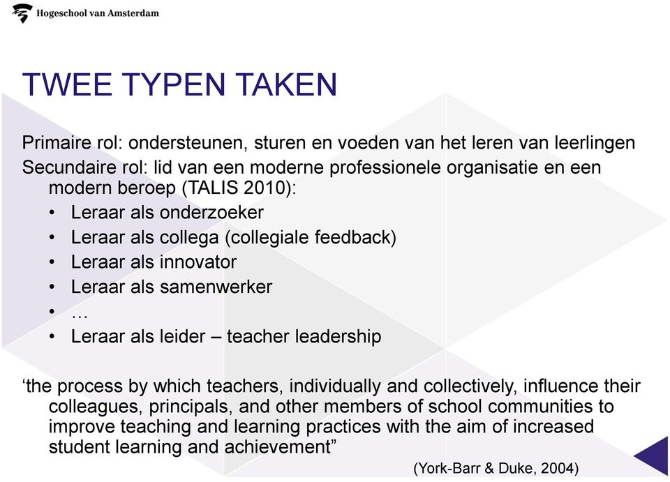 samenwerker Leraar als leider teacher leadership the process by which teachers, individually and collectively, influence their colleagues, principals,