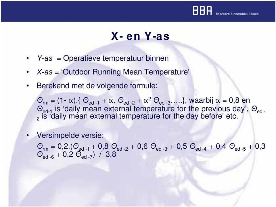 .}, waarbij α = 0,8 en Θ ed-1 is daily mean external temperature for the previous day, Θ ed - 2 is daily mean