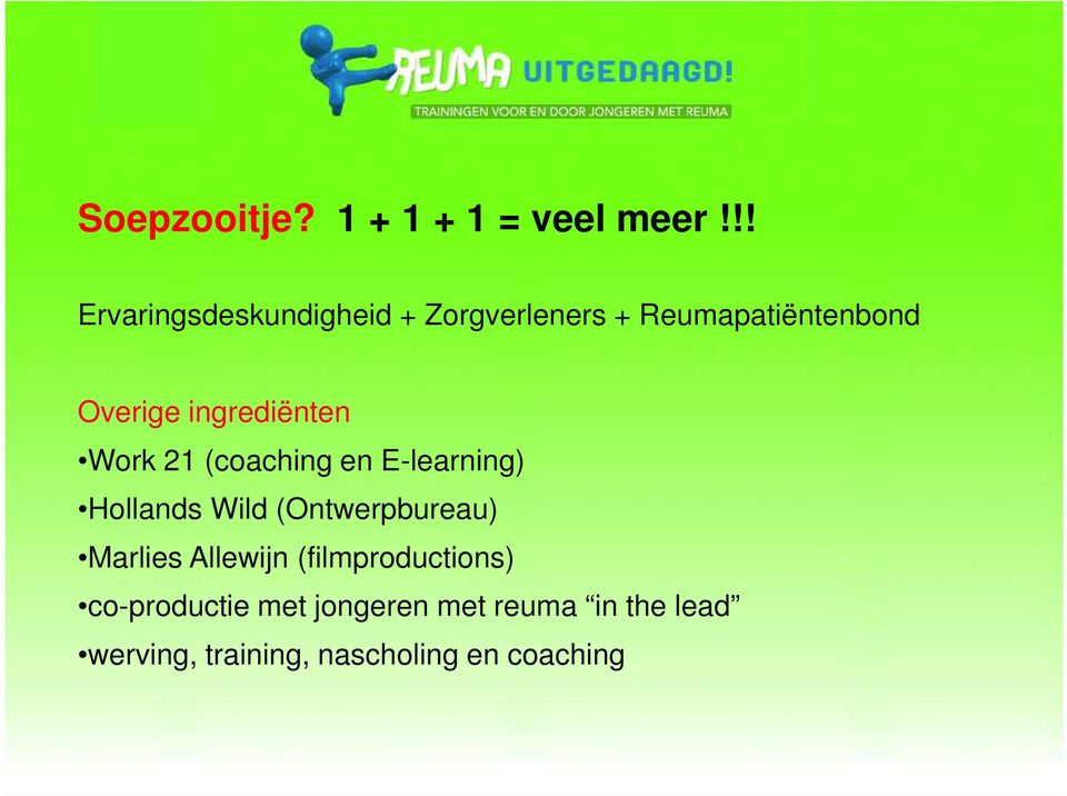 ingrediënten Work 21 (coaching en E-learning) Hollands Wild (Ontwerpbureau)
