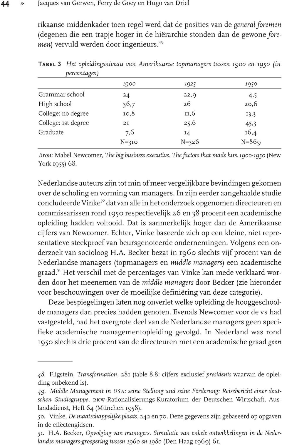 49 Tabel 3 Het opleidingsniveau van Amerikaanse topmanagers tussen 1900 en 1950 (in percentages) 1900 1925 1950 Grammar school 24 22,9 4,5 High school 36,7 26 20,6 College: no degree 10,8 11,6 13,3