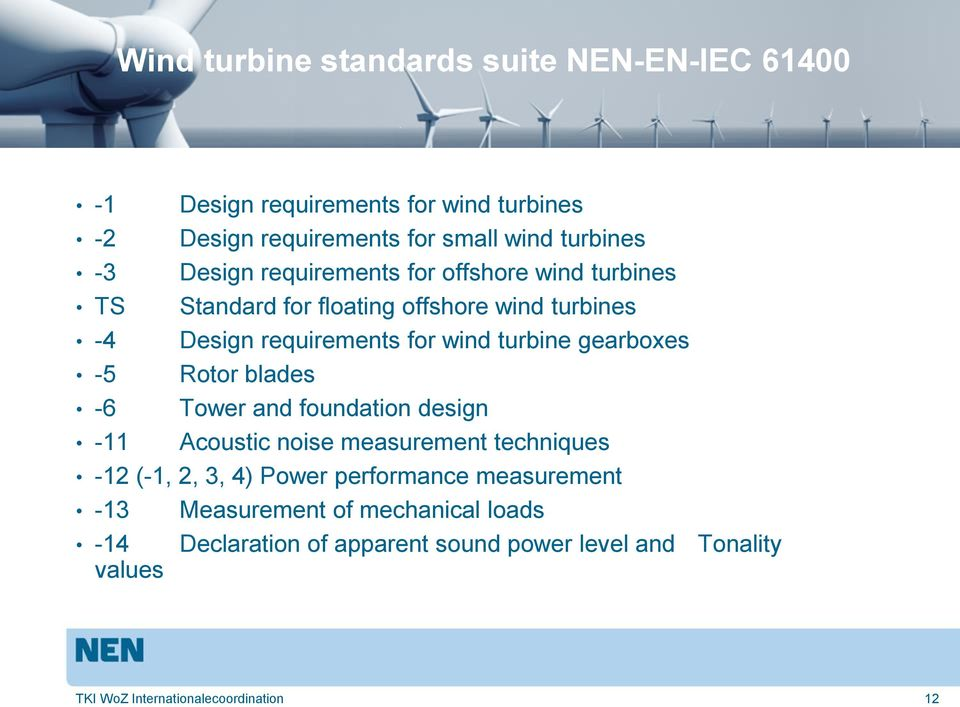 gearboxes -5 Rotor blades -6 Tower and foundation design -11 Acoustic noise measurement techniques -12 (-1, 2, 3, 4) Power performance