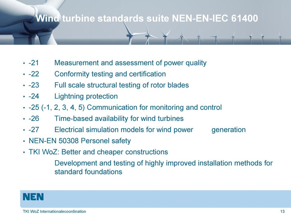 Time-based availability for wind turbines -27 Electrical simulation models for wind power generation NEN-EN 50308 Personel safety TKI WoZ: