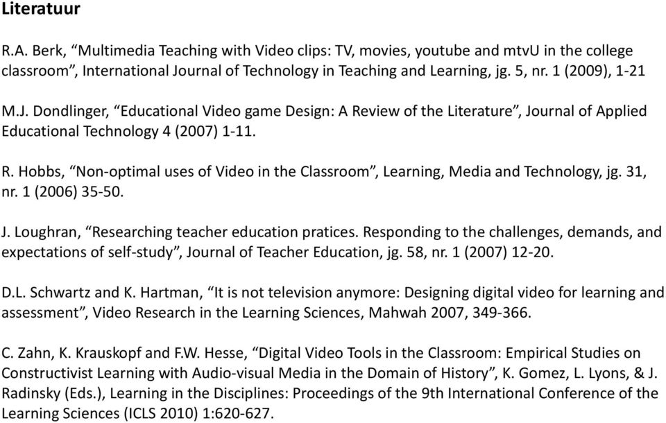 31, nr. 1 (2006) 35-50. J. Loughran, Researching teacher education pratices. Responding to the challenges, demands, and expectations of self-study, Journal of Teacher Education, jg. 58, nr.