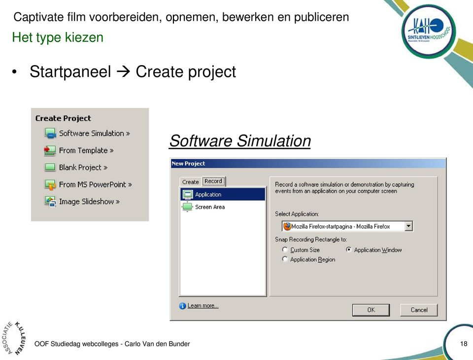 Startpaneel Create project Software