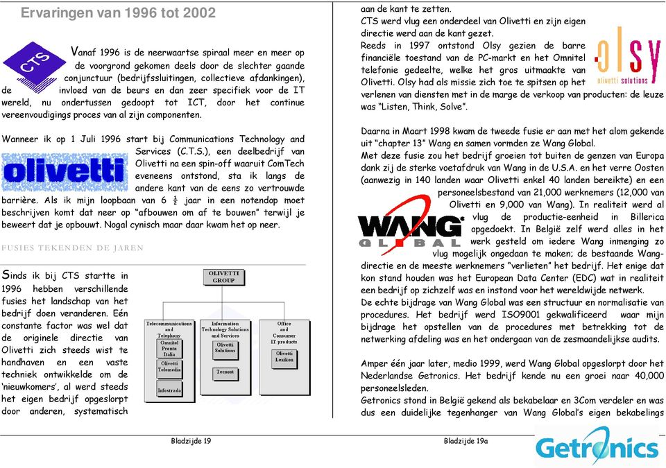 Wanneer ik op 1 Juli 1996 start bij Communications Technology and Se