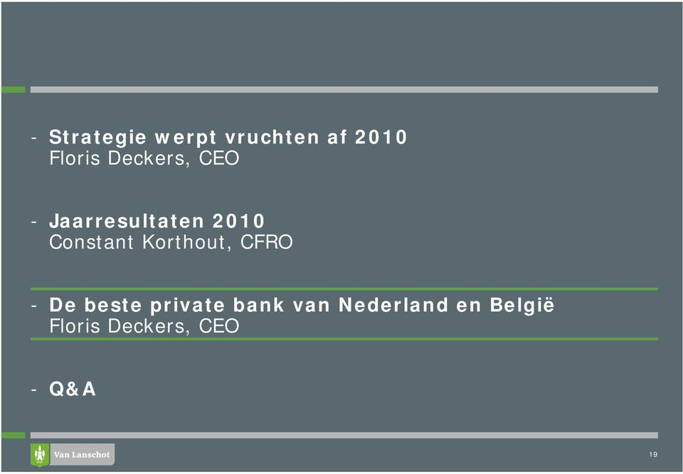 Korthout, CFRO - De beste private bank van