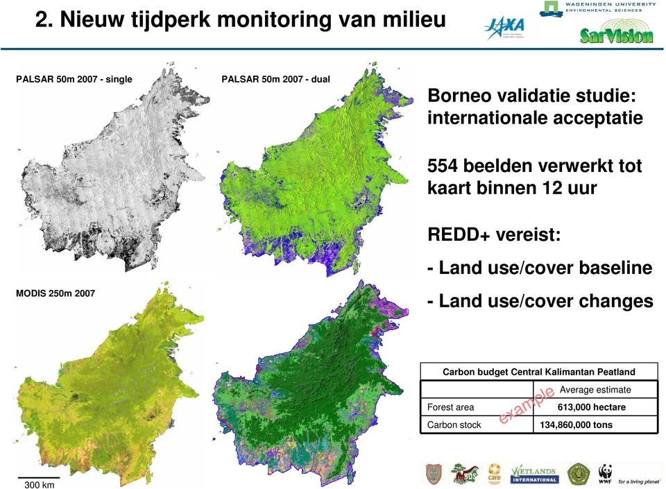 12 uur REDD+ vereist: - Land use/cover baseline - Land use/cover changes Carbon budget Central