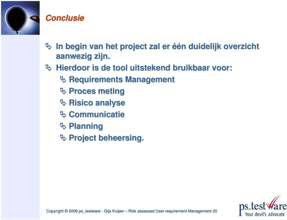 Proces meting Risico analyse Communicatie Planning Project beheersing.