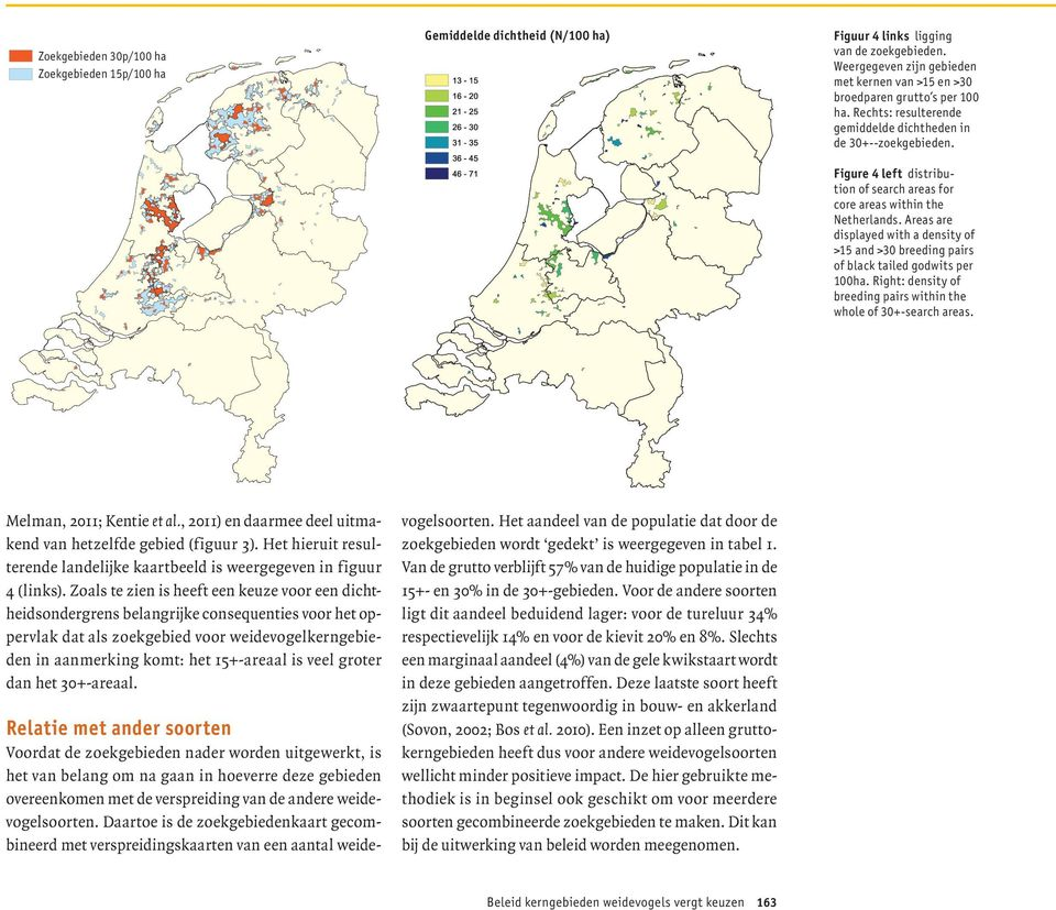 Figure 4 left distribution of search areas for core areas within the Netherlands. Areas are displayed with a density of >15 and >30 breeding pairs of black tailed godwits per 100ha.