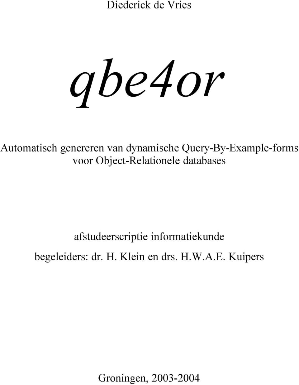 Object-Relationele databases afstudeerscriptie