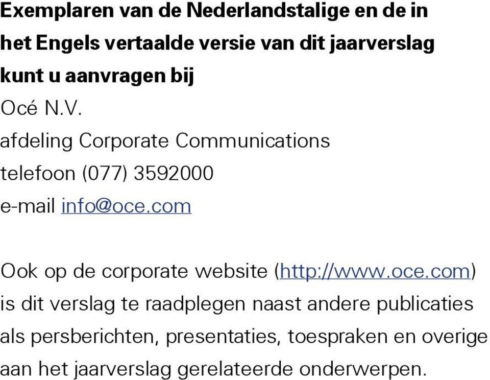 com Ook op de corporate website (http://www.oce.