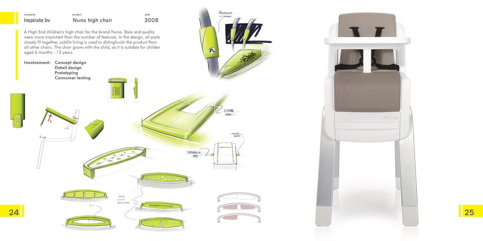 In the design, all parts closely fit together, subtile lining is used to distinghuish the product ftom all other chairs.